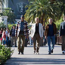 "Morgan Freeman as Archie Clayton, Michael Douglas as Billy Gherson, Robert De Niro as Paddy Connors and Kevin Kline as Sam Harris in ""Last Vegas."""