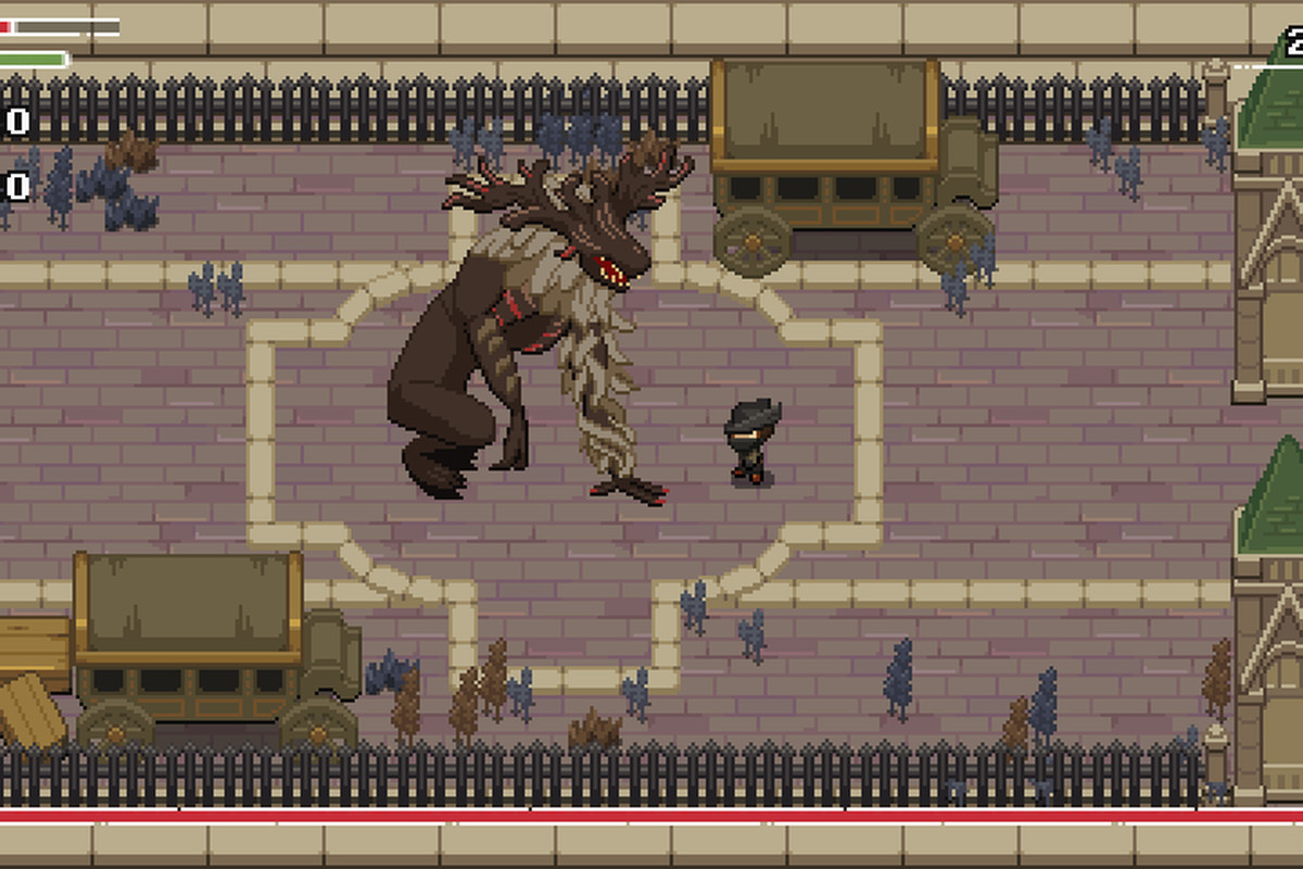 The Hunter fights the Cleric Beast in Yarntown