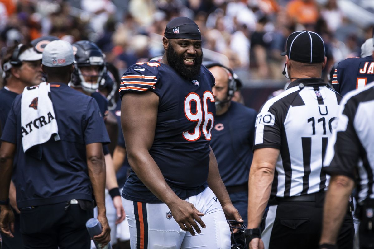 Akiem Hicks had half a sack, three tackles and two quarterback hits against the Rams in the season opener.