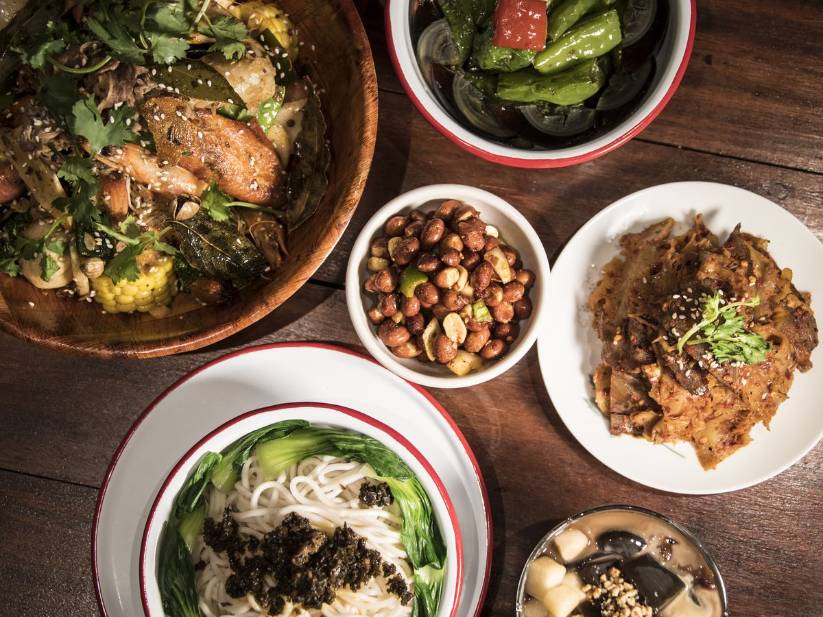 A Sichuan dry pot (upper left) and other dishes at MaLa project
