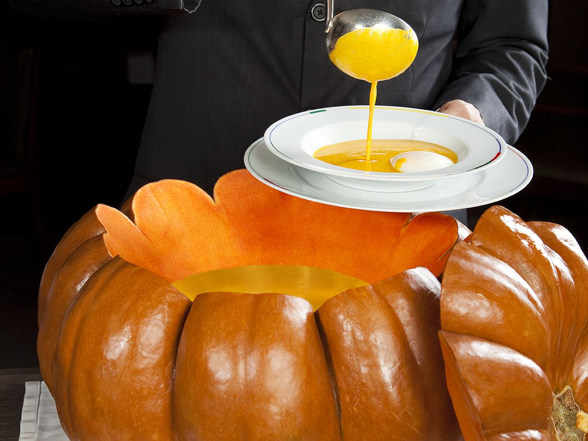 Pumpkin soup with truffles at Restaurant Guy Savoy