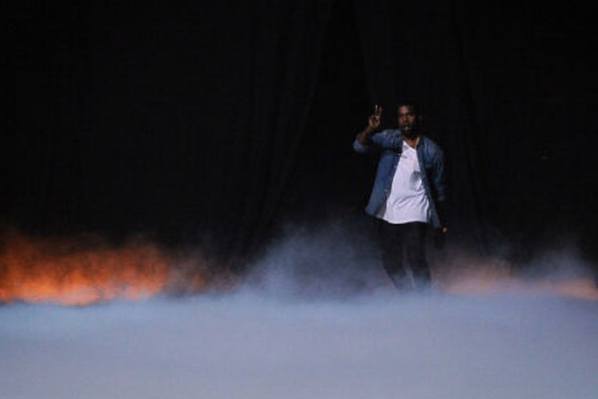 Kanye West's dramatic runway show at Paris Fashion Week, via Getty