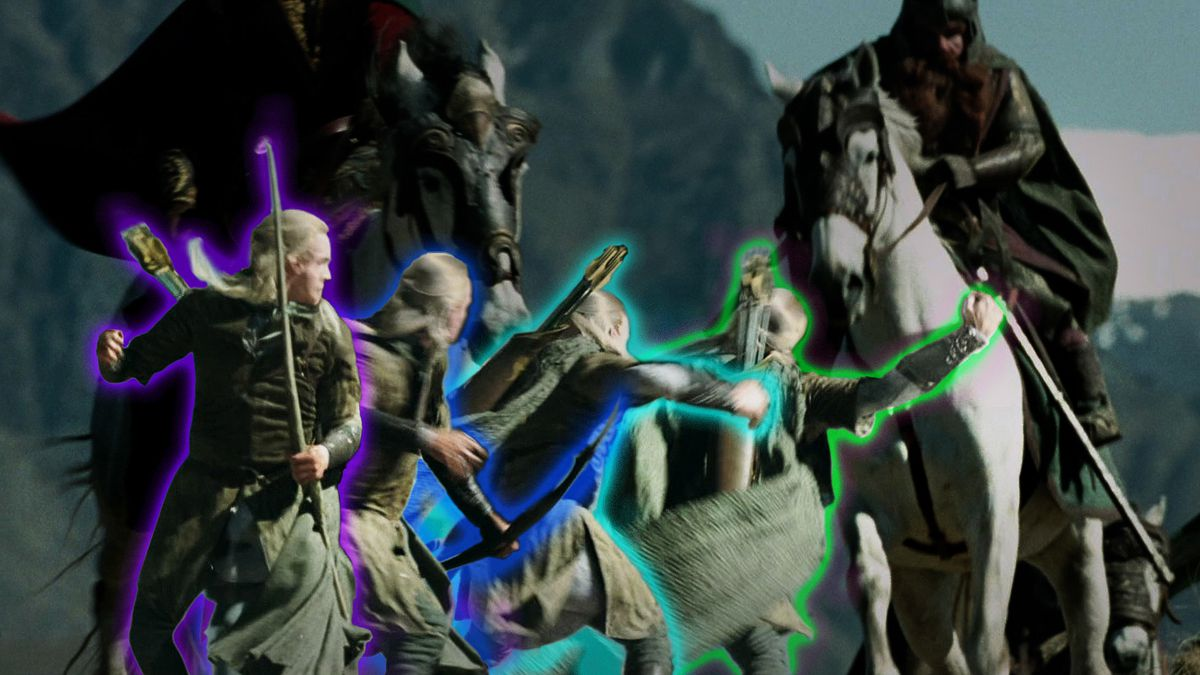 The different stages of Legolas as he climbs on to a horse in the most difficult and frantic way possible