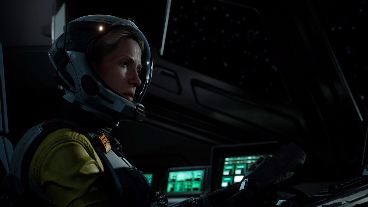Selene in the cockpit of her spaceship in Returnal