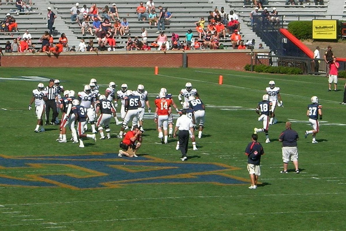 <em>Departed guard Thomas O'Reilly (#66) lines up to block on A-Day.</em>