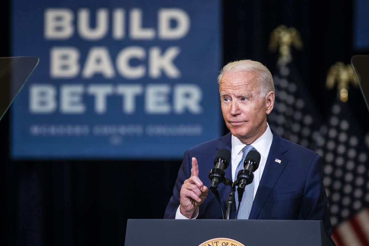 President Joe Biden speaks at McHenry County College in Crystal Lake on Wednesday.