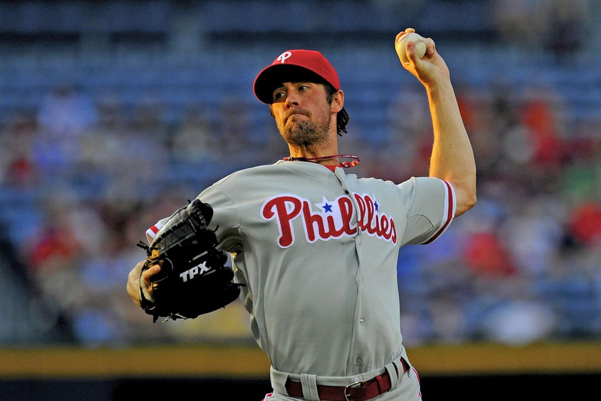 May 1, 2012; Atlanta, GA, USA; Philadelphia Phillies starting pitcher Cole Hamels (35) pitches against the Atlanta Braves during the second inning at Turner Field. The Phillies defeated the Braves 4-2.  Mandatory Credit: Dale Zanine-US PRESSWIRE