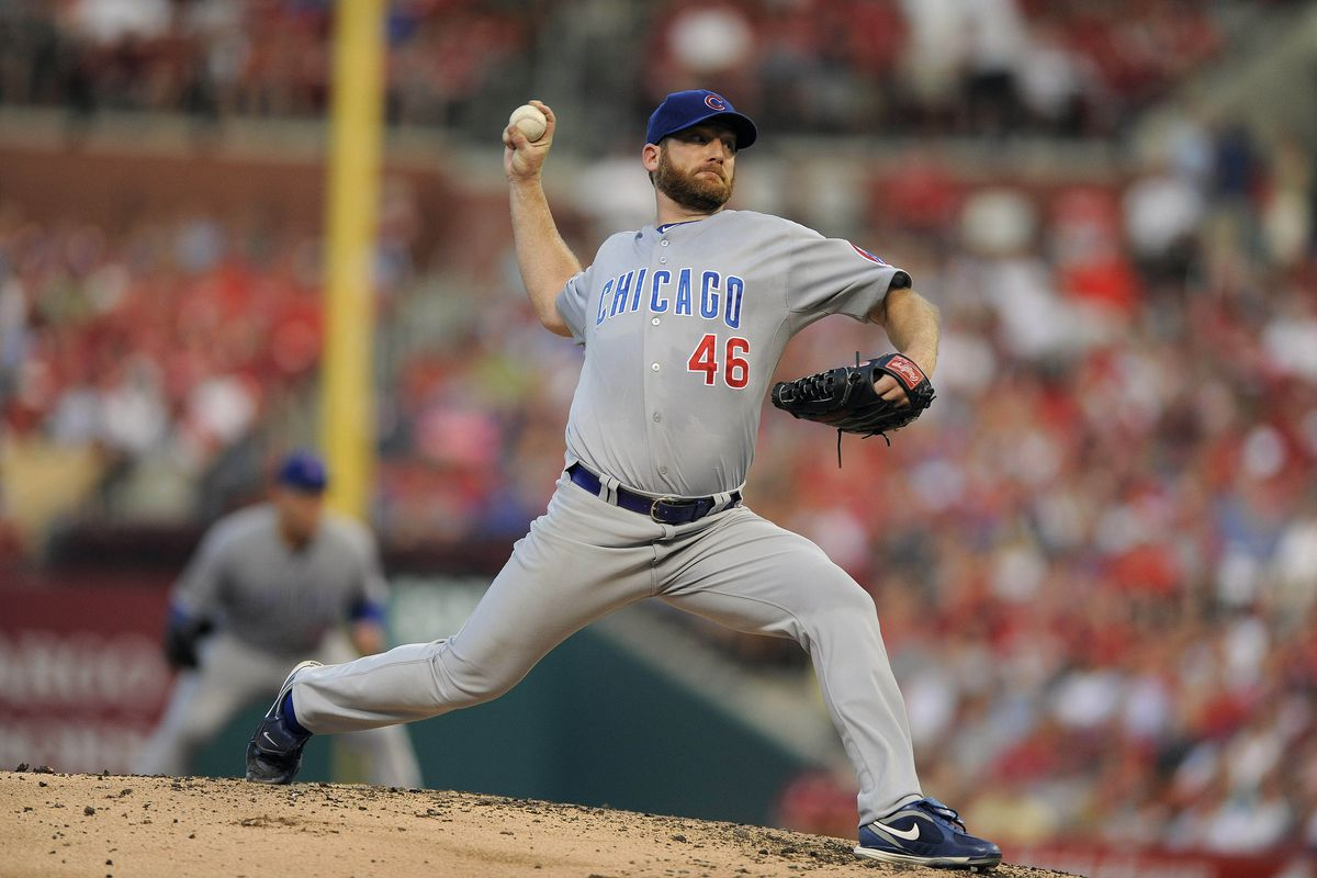 St. Louis, MO. USA; Chicago Cubs starting pitcher Ryan Dempster throws to a St. Louis Cardinals batter at Busch Stadium. Credit: Jeff Curry-US PRESSWIRE
