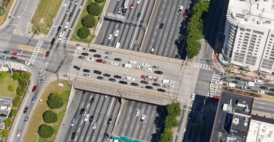 The 10th Street Bridge now features auto lanes running in each direction, constantly packed with cars.