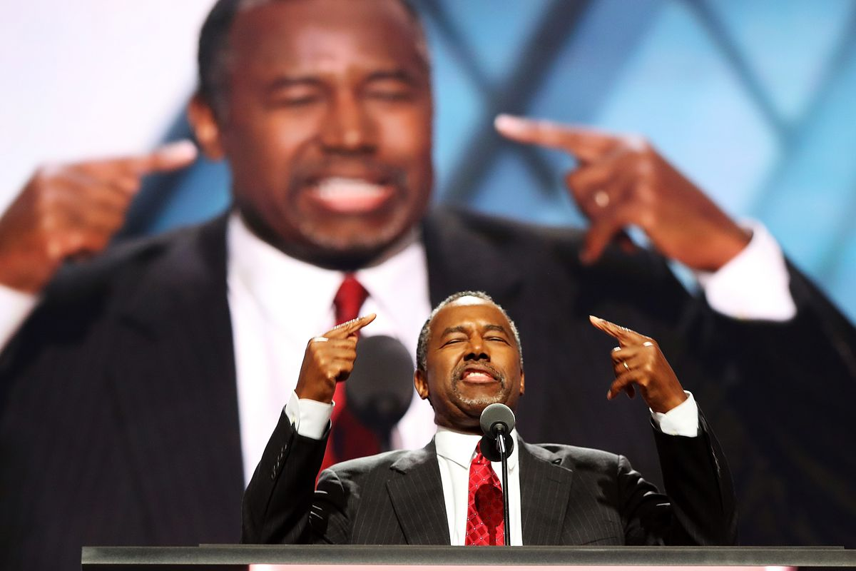 Former Republican presidential candidate Ben Carson delivers a speech on the second day of the Republican National Convention on July 19, 2016, at the Quicken Loans Arena in Cleveland, Ohio.