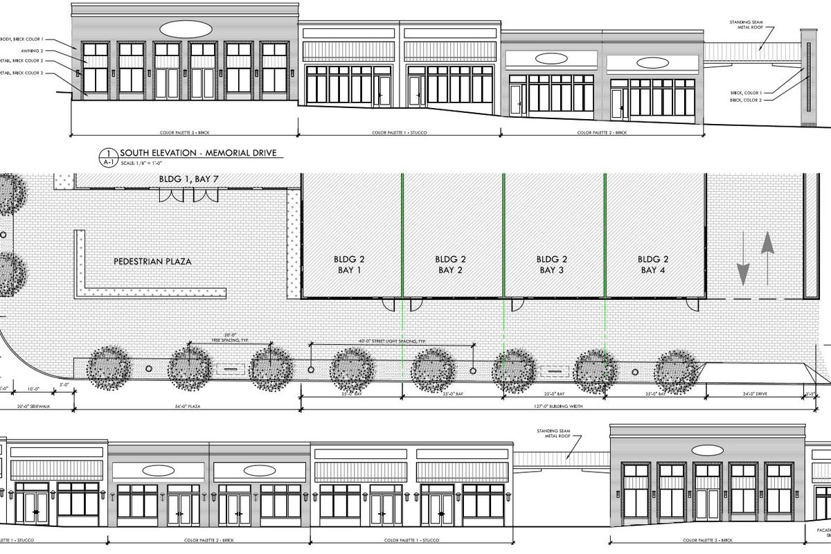 Elevations of single-story brick commercial buildings which look like older storefronts.