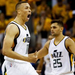 Utah Jazz guard Dante Exum #11 celebrates a play during a game against the Golden State Warriors four of the Western Conference Semifinal at Vivant Smart Home Arena in Salt Lake City on Monday, May 8, 2017.