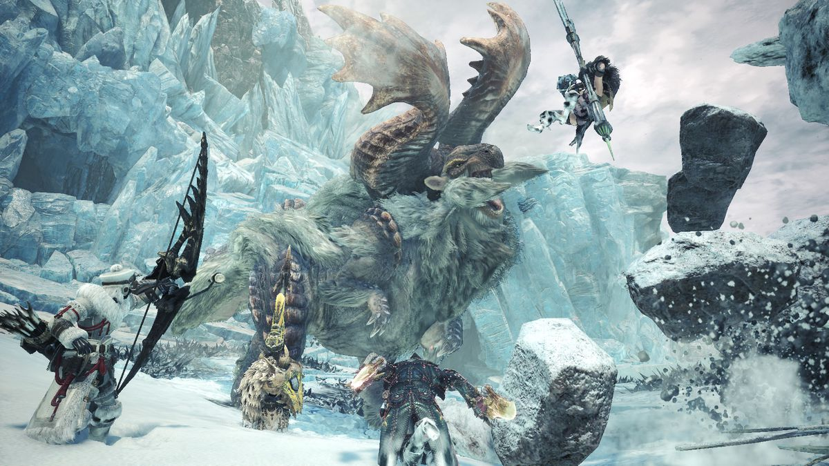 A Banbaro attacks a group of hunters in Monster Hunter World: Iceborne.