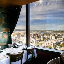 A glimpse of the view from the dining room of the Portland City Grill.