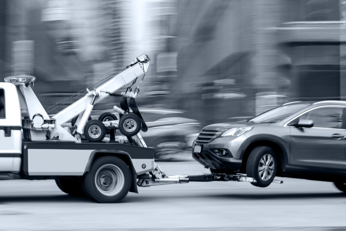 Stock photo of a tow truck