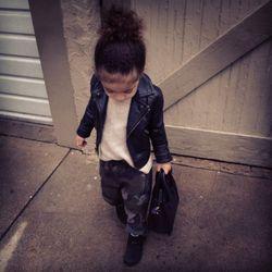 Zara Kids camo trousers, 77kids leather jacket, Zara Kids sweater and boots, Celine bag