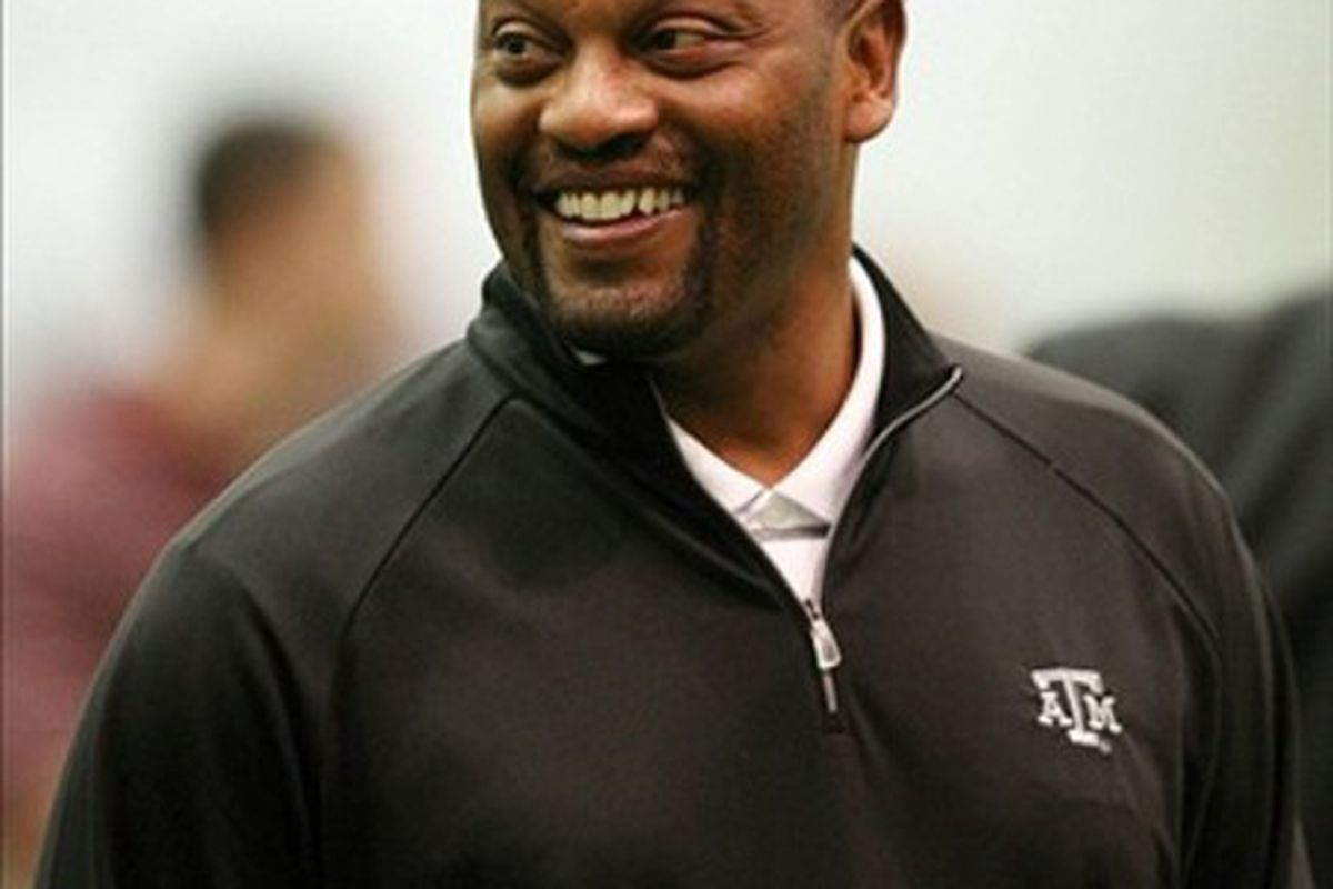 Mar 7, 2012; College Station, TX, USA; Texas A&M Aggies head coach Kevin Sumlin during pro day at the McFerrin Indoor Facility. Mandatory Credit: Brett Davis-US PRESSWIRE