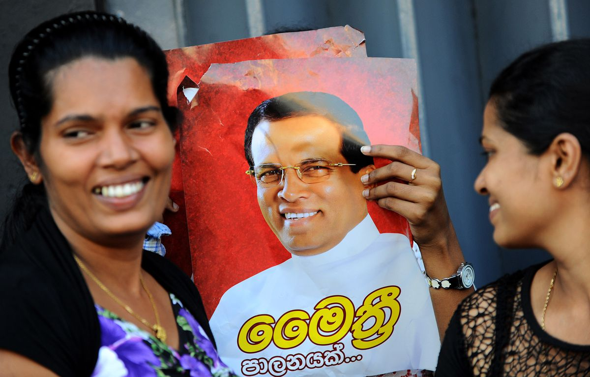 Sirisena supporters with poster