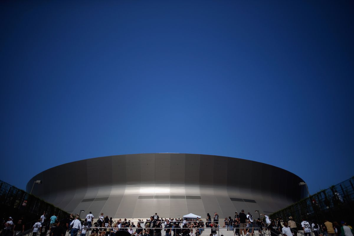 NEW ORLEANS, LA - An exterior view of the Mercedes-Benz  Superdome before the Kansas City Chiefs play the New Orleans Saints  on  September 23, 2012.