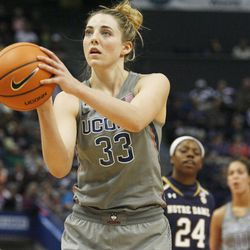 UConn's Katie Lou Samuelson (33) shoots a free throw during the Notre Dame Fighting Irish vs UConn Huskies women's college basketball game in the Women's Jimmy V Classic at the XL Center in Hartford, CT on December 3, 2017.