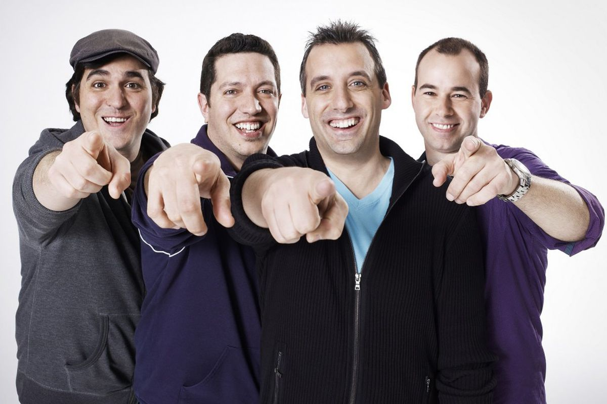 The most popular show on TruTV is Impractical Jokers, which, judging from this press photo, is about men pointing at you.