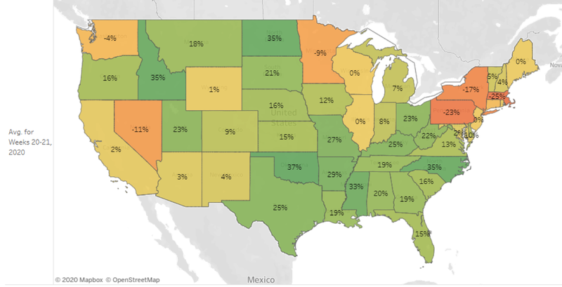 A map showing mortgage rate lock activity.