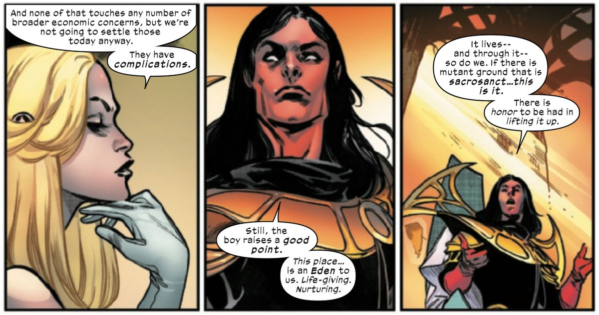 Mutants Emma Frost and Exodus discuss the third law of mutants, that Krakoa must be respected, in House of X #6, Marvel Comics (2019).