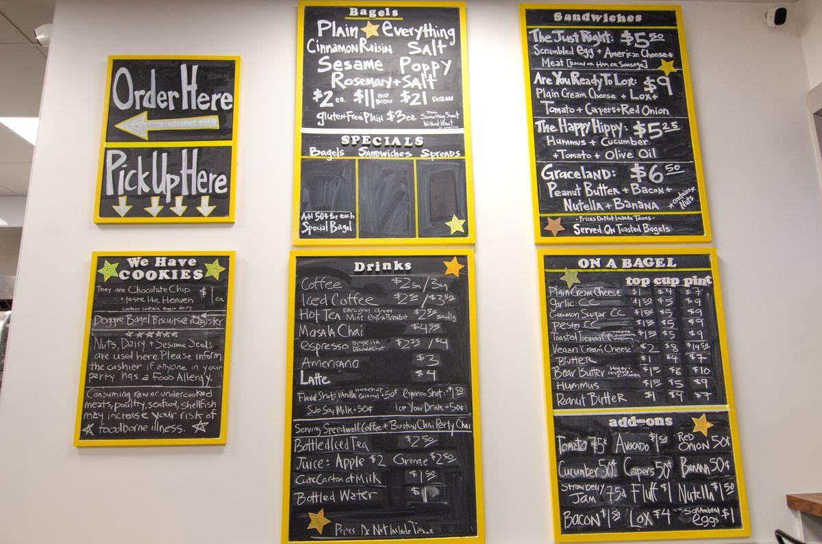 Chalkboard menus at Goldilox Bagels in Medford