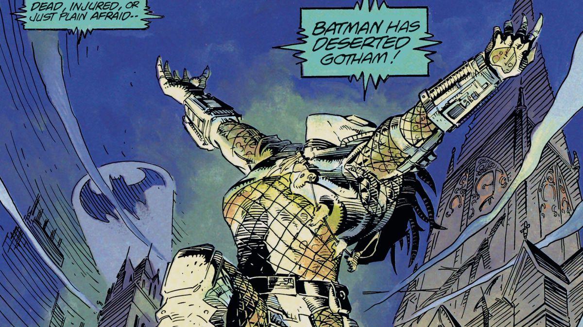 """Dead, injured or just plain afraid, Batman has deserted Gotham,"" says a radio announcer, as a Predator spreads its arms triumphantly atop a Gotham City gargoyle, in Batman vs. Predator, DC Comics/Dark Horse Comics (1991)."