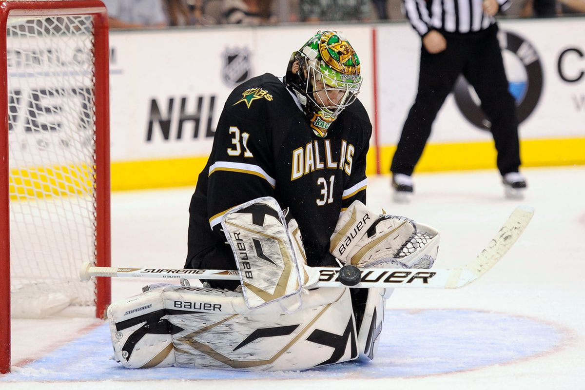 Apr 7, 2012; Dallas, TX, USA; Dallas Stars goalie Richard Bachman (31) makes a save on a St. Louis Blues shot during the third period at the American Airlines Center. The Blues defeated the Stars 3-2.  Mandatory Credit: Jerome Miron-US PRESSWIRE