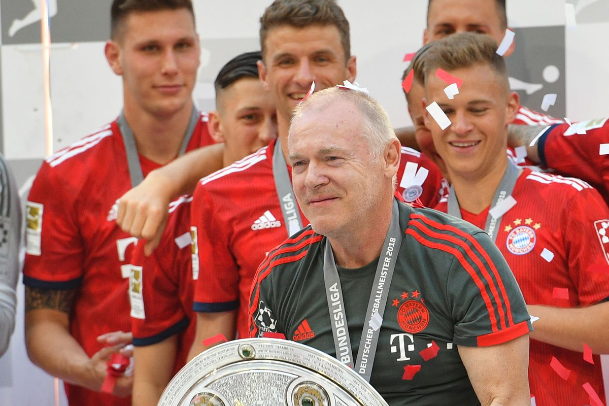 MUNICH, GERMANY - MAY 12: Hermann Gerland celebrates winning the championship after the Bundesliga match between FC Bayern Muenchen and VfB Stuttgart at Allianz Arena on May 12, 2018 in Munich, Germany.