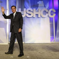 Republican presidential candidate and former Massachusetts Gov. Mitt Romney waves after he addressed the U.S. Hispanic Chamber of Commerce in Los Angeles, Monday, Sept. 17, 2012.