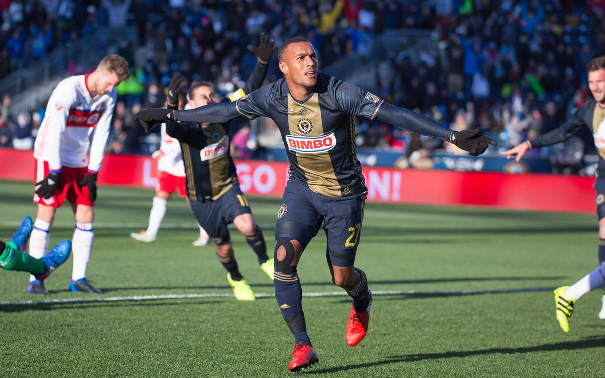 The Union's Jay Simpson celebrates his first half goal against Toronto FC