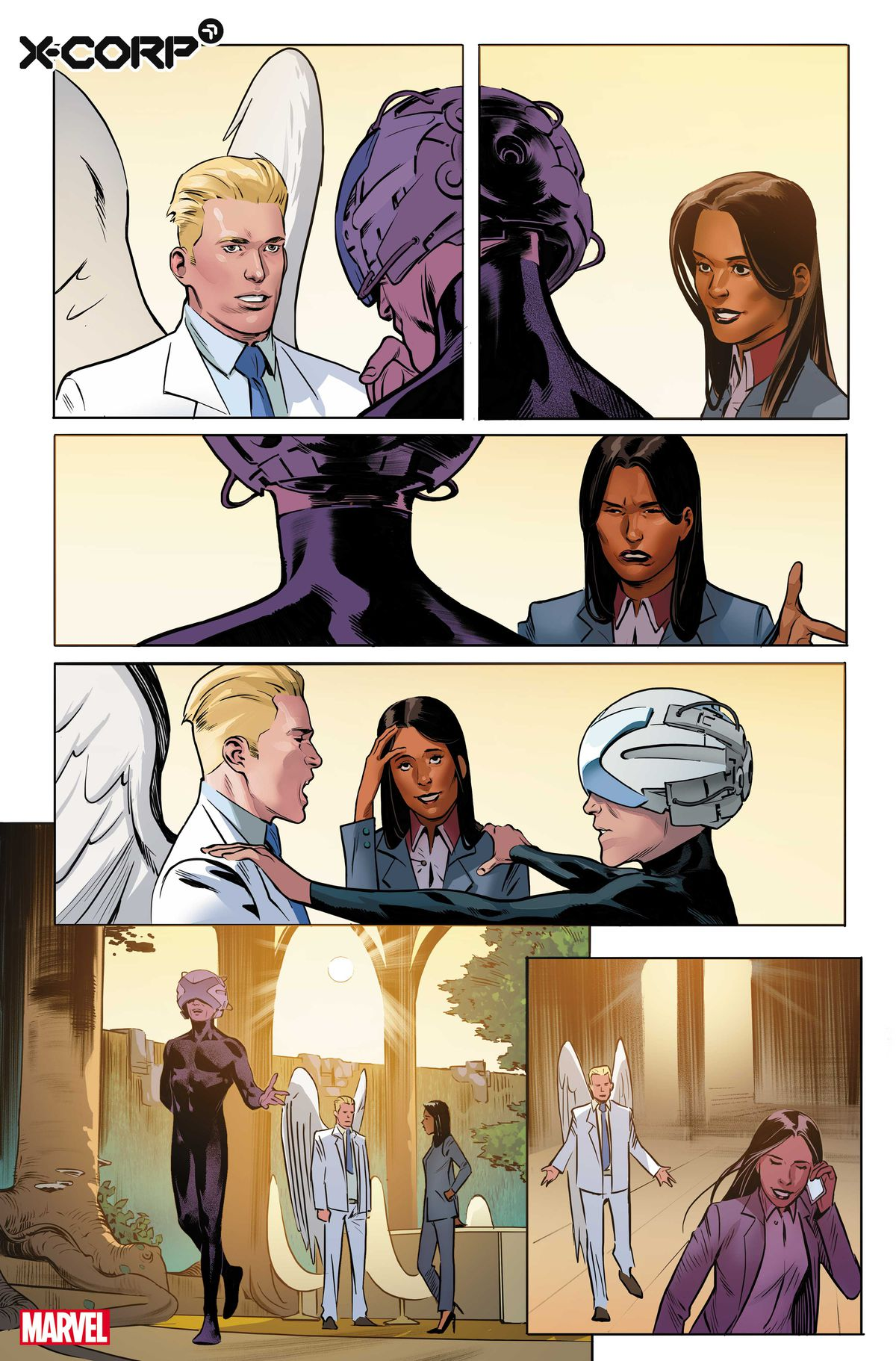 Angel, Monet St. Croix and Charles Xavier speak to each other in the preview for X-Corp # 1, Marvel Comics (2021).