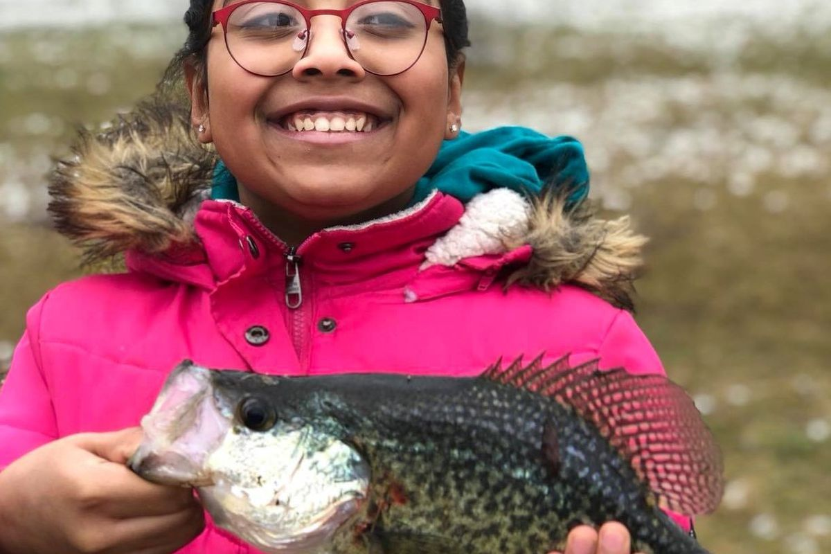 Saniya Askew with a 14-inch-plus crappie from Wampum Lake. Provided photo.