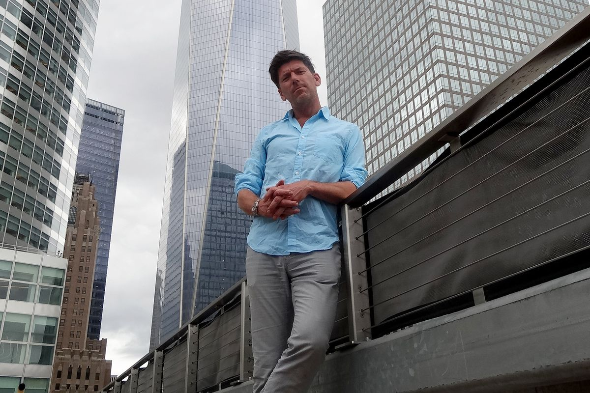 Polpo's Russell Norman in NYC in front of the World Trade Centre building