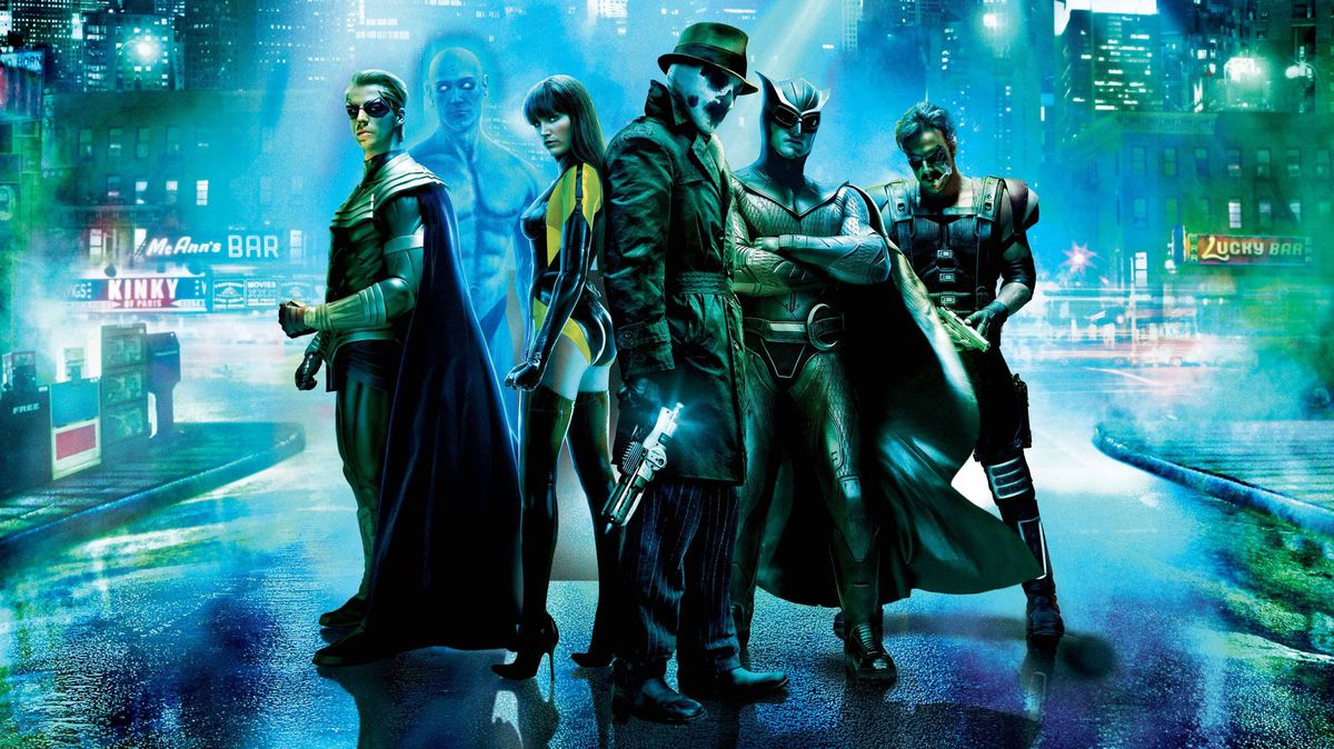 The cast of Watchmen stands on the street together in a promo image for Zack Snyder's Watchmen