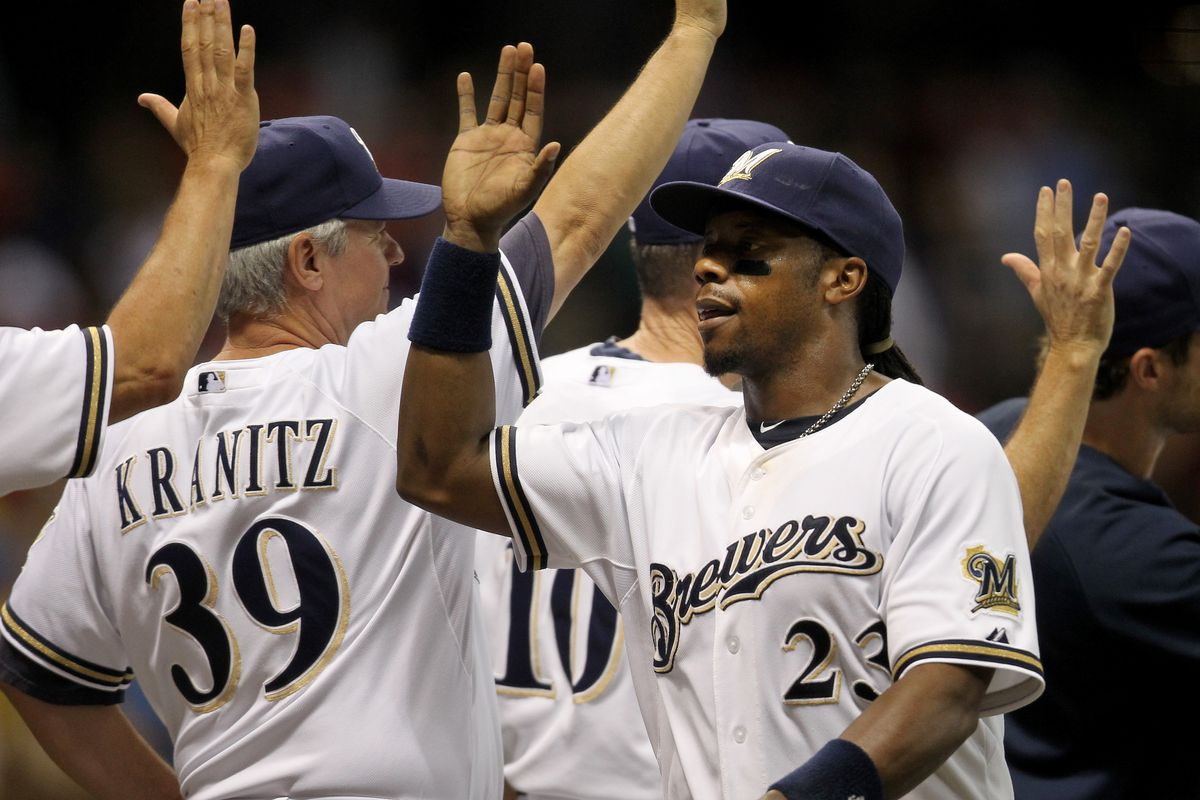 MILWAUKEE, WI - JULY 17: Rickie Weeks #23 of the Milwaukee Brewers celebrates the 3-2 win over the St Louis Cardinals during the game at Miller Park on July 17, 2012 in Milwaukee, Wisconsin. (Photo by Mike McGinnis/Getty Images)