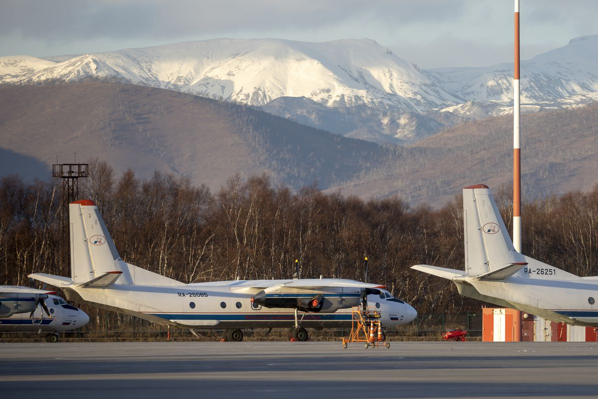 The Antonov An-26 with the same board number #RA-26085 as the missing plane is parked at Airport Elizovo outside Petropavlovsk-Kamchatsky, Russia, Tuesday, Nov. 17, 2020.