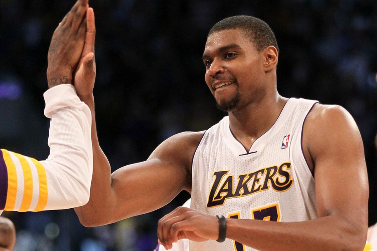 LOS ANGELES, CA - MARCH 11: Andrew Bynum #17 of the Los Angeles Lakers celebrates after the game with the Boston Celtics at Staples Center on March 11, 2012 in Los Angeles, California.  The Lakers won 97-94.   (Photo by Stephen Dunn/Getty Images)