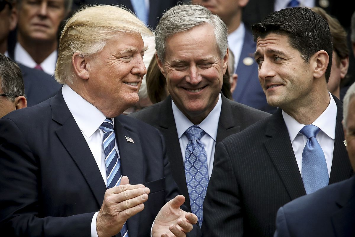 President Trump stands with Paul Ryan (R-WI) and Freedom Caucus Chairman Mark Meadows (R-NC), after Republicans passed legislation aimed at repealing and replacing ObamaCare on May 4, 2017.