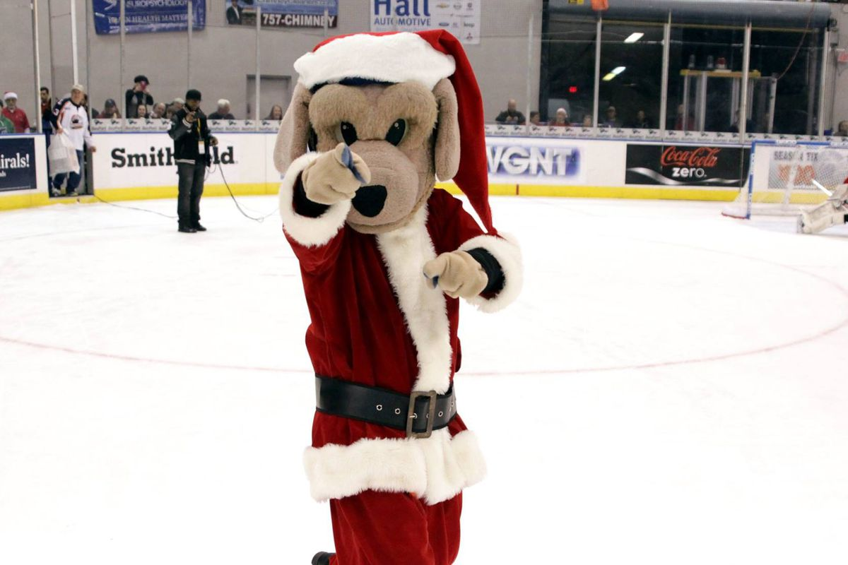 Norfolk Admirals' Mascot Salty is dressed for the 2015 Toy Toss