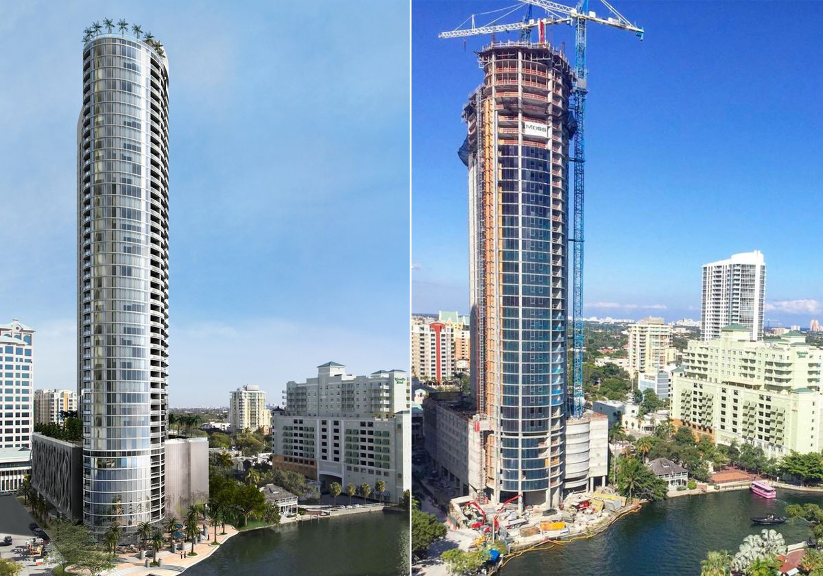 Rendering of Icon Las Olas compared to a recent picture