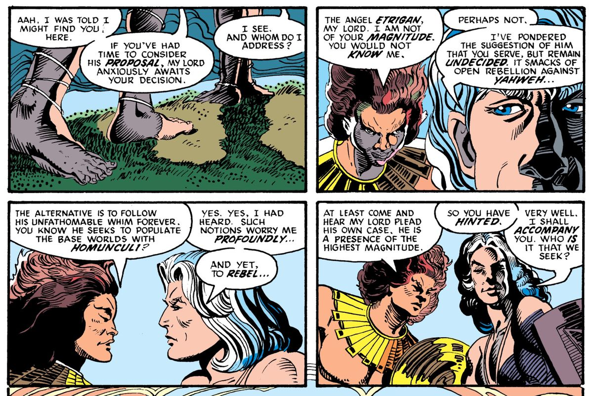 The Phantom Stranger (when he was an angel) and Etrigan (also when he was an angel) discuss rebelling against the Almighty, in Secret Origins #10, DC Comics (1987).