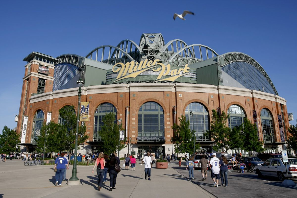 MILWAUKEE, WI - MAY 22: Fans enter the stadium before the game between the San Francisco Giants and Milwaukee Brewers at Miller Park on May 22, 2012 in Milwaukee, Wisconsin. (Photo by Mike McGinnis/Getty Images)