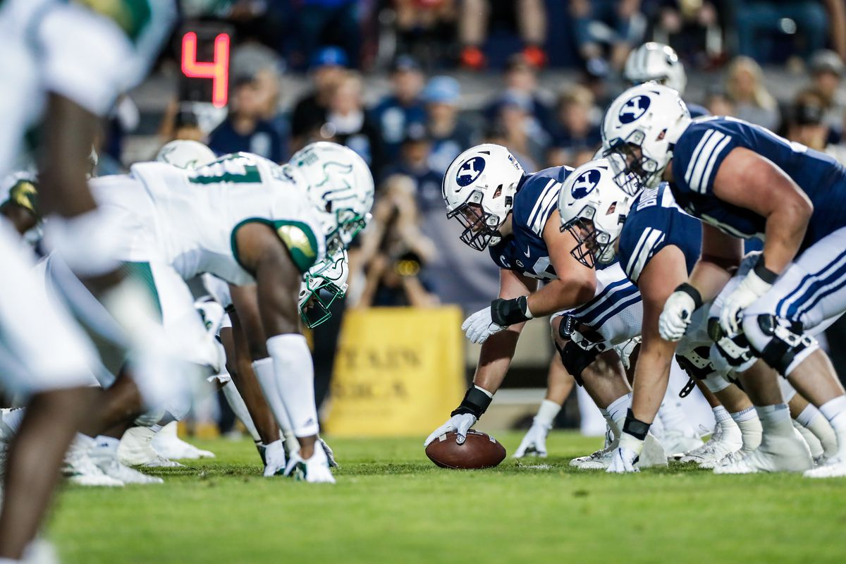 BYU's offensive line prepares for snap during game against South Florida Saturday, Sept. 25, 2021, at LaVell Edwards Stadium.