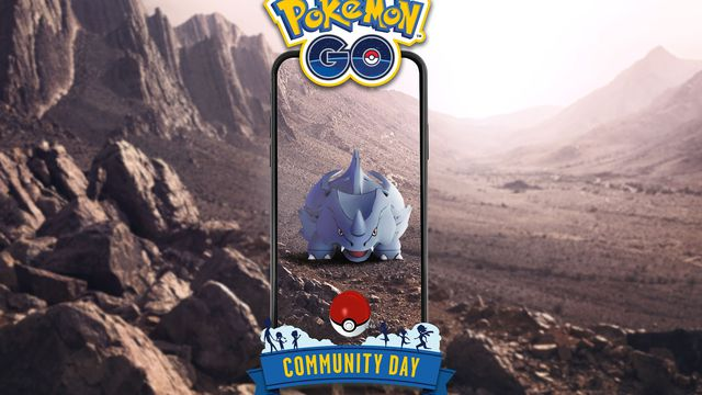 A phone screen overlays a rocky area, with a Rhyhorn in the middle