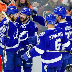 A celebration after Kucherov scored in the first period