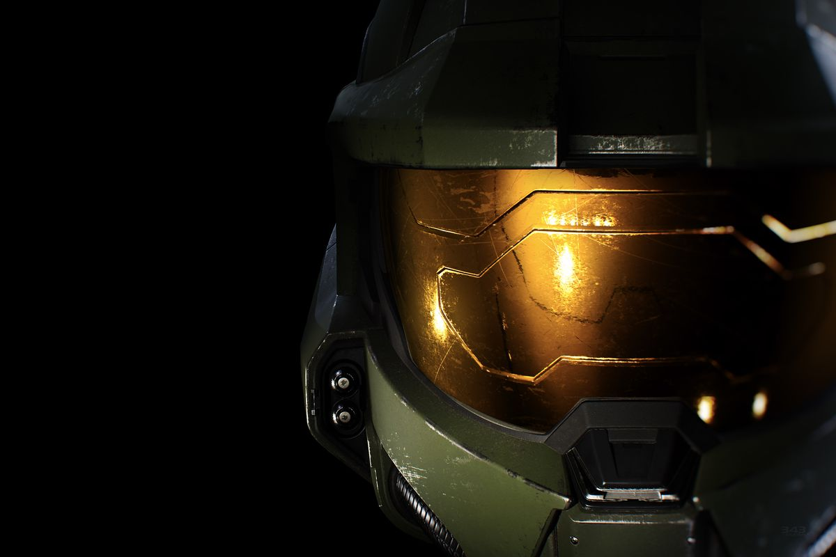 A render of Master Chief's helmet from Halo Infinite