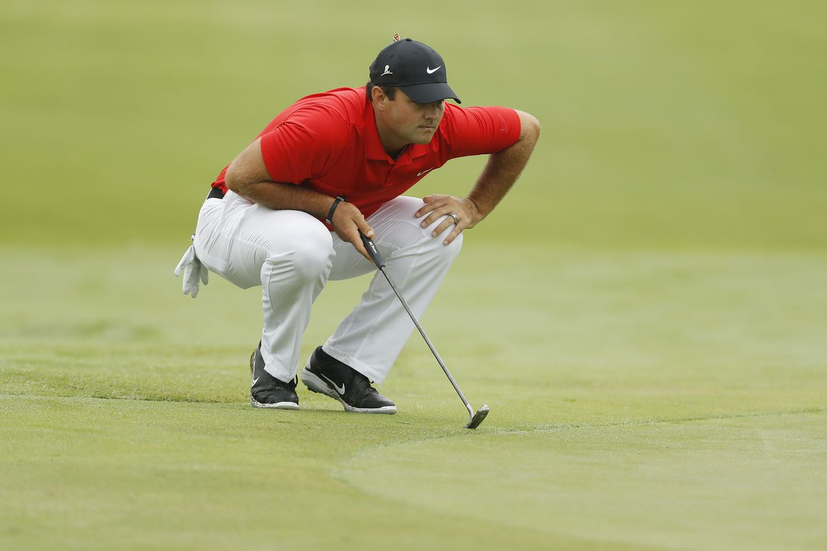 Patrick Reed of the United States looks over a putt on the 16th green during the third round of the World Golf Championship-FedEx St Jude Invitational at TPC Southwind on August 01, 2020 in Memphis, Tennessee.